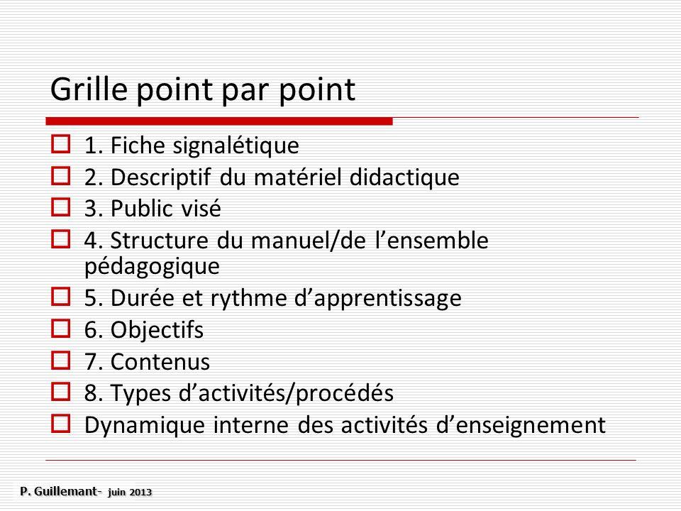 Grille point par point 1. Fiche signalétique 2. Descriptif du matériel didactique 3. Public visé 4. Structure du manuel/de lensemble pédagogique 5. Du
