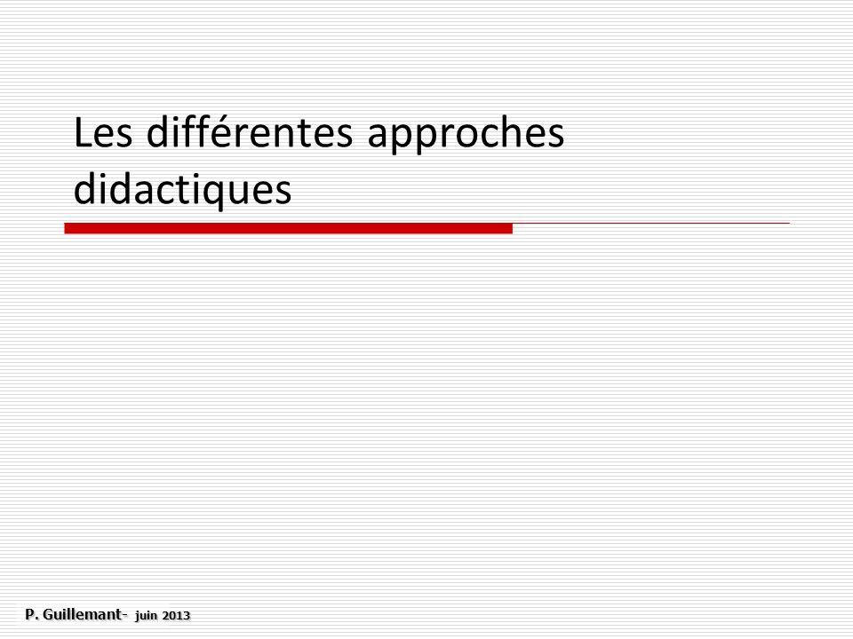 Les différentes approches didactiques P. Guillemant- juin 2013