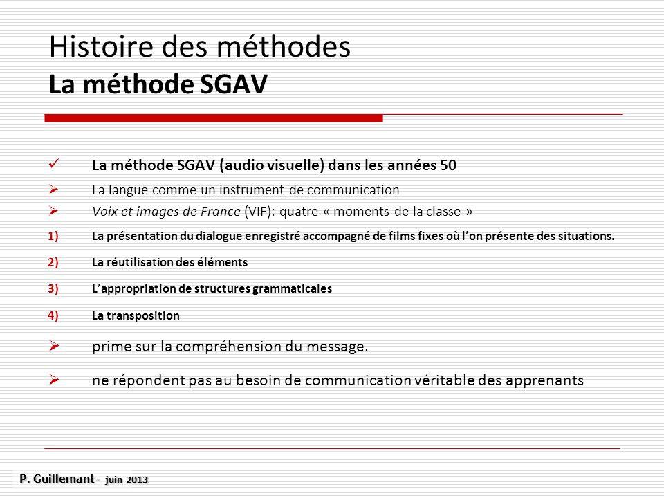 Histoire des méthodes La méthode SGAV La méthode SGAV (audio visuelle) dans les années 50 La langue comme un instrument de communication Voix et image