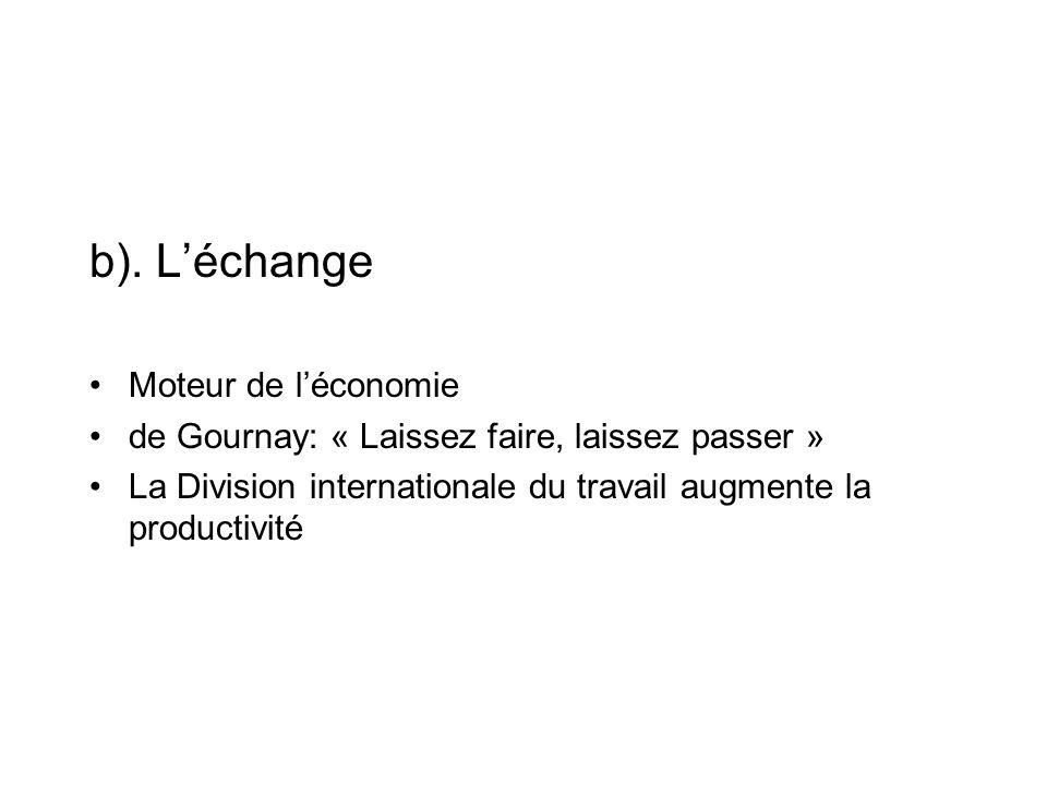 b). Léchange Moteur de léconomie de Gournay: « Laissez faire, laissez passer » La Division internationale du travail augmente la productivité