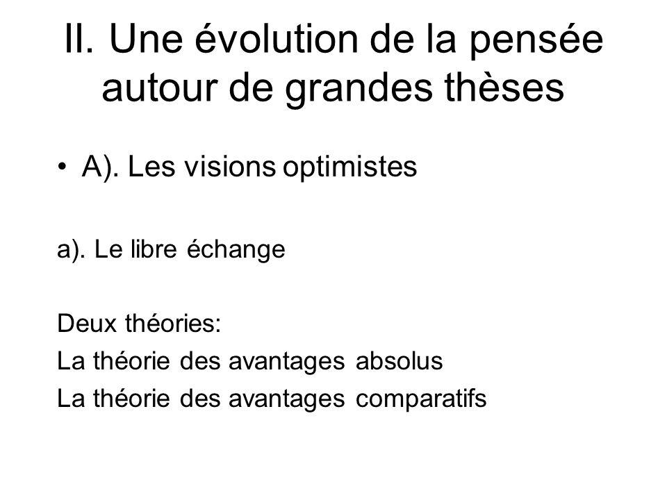 II. Une évolution de la pensée autour de grandes thèses A). Les visions optimistes a). Le libre échange Deux théories: La théorie des avantages absolu