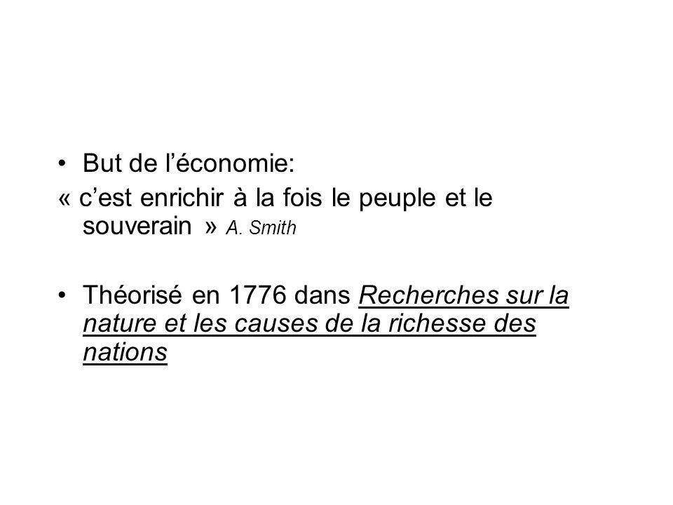But de léconomie: « cest enrichir à la fois le peuple et le souverain » A. Smith Théorisé en 1776 dans Recherches sur la nature et les causes de la ri