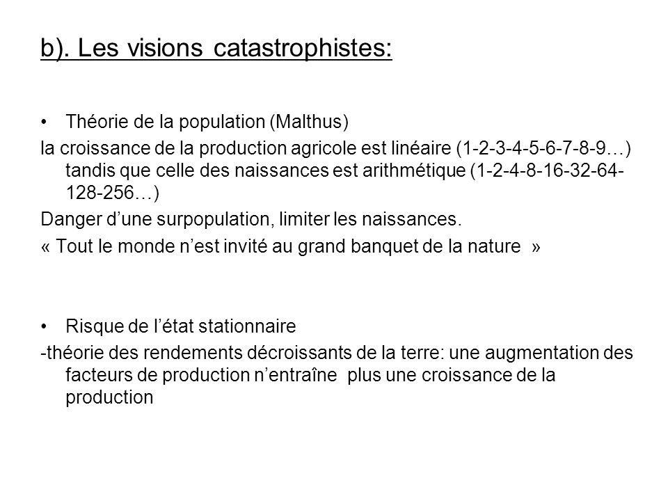 b). Les visions catastrophistes: Théorie de la population (Malthus) la croissance de la production agricole est linéaire (1-2-3-4-5-6-7-8-9…) tandis q