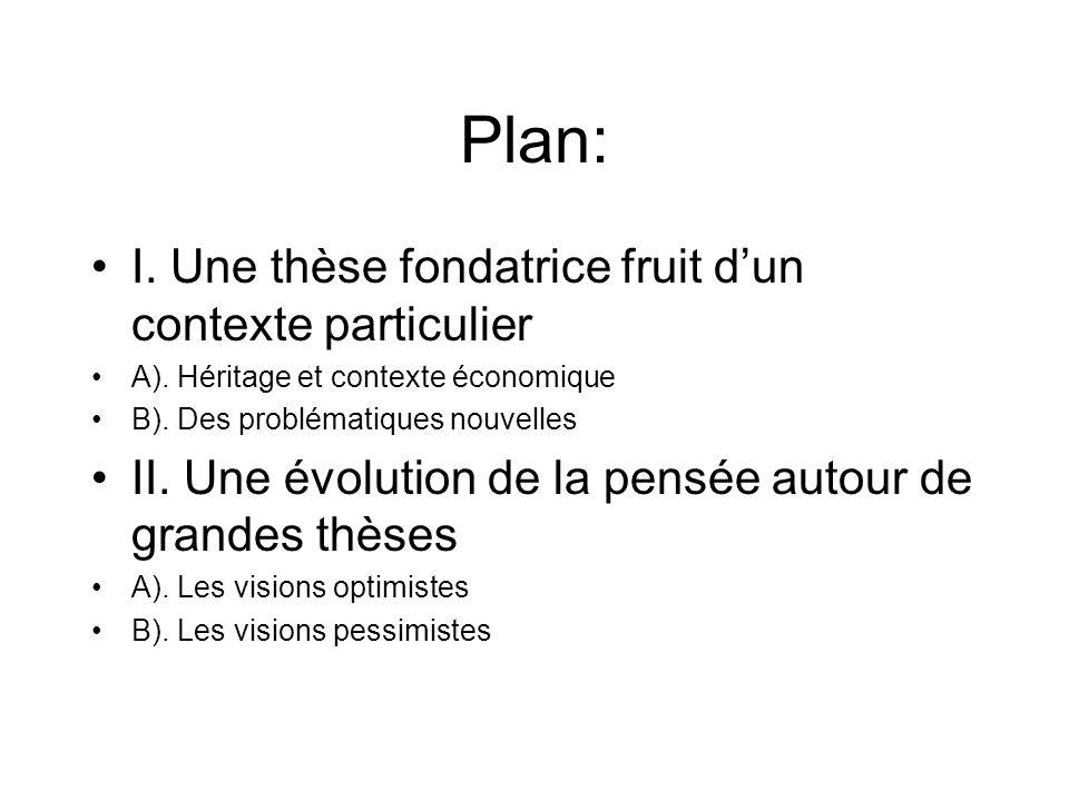 Plan: I. Une thèse fondatrice fruit dun contexte particulier A). Héritage et contexte économique B). Des problématiques nouvelles II. Une évolution de