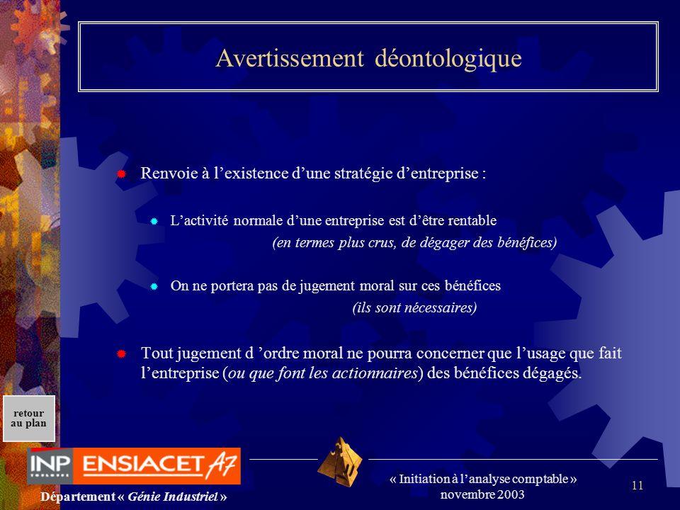 Département « Génie Industriel » « Initiation à lanalyse comptable » novembre 2003 retour au plan 11 Avertissement déontologique Renvoie à lexistence