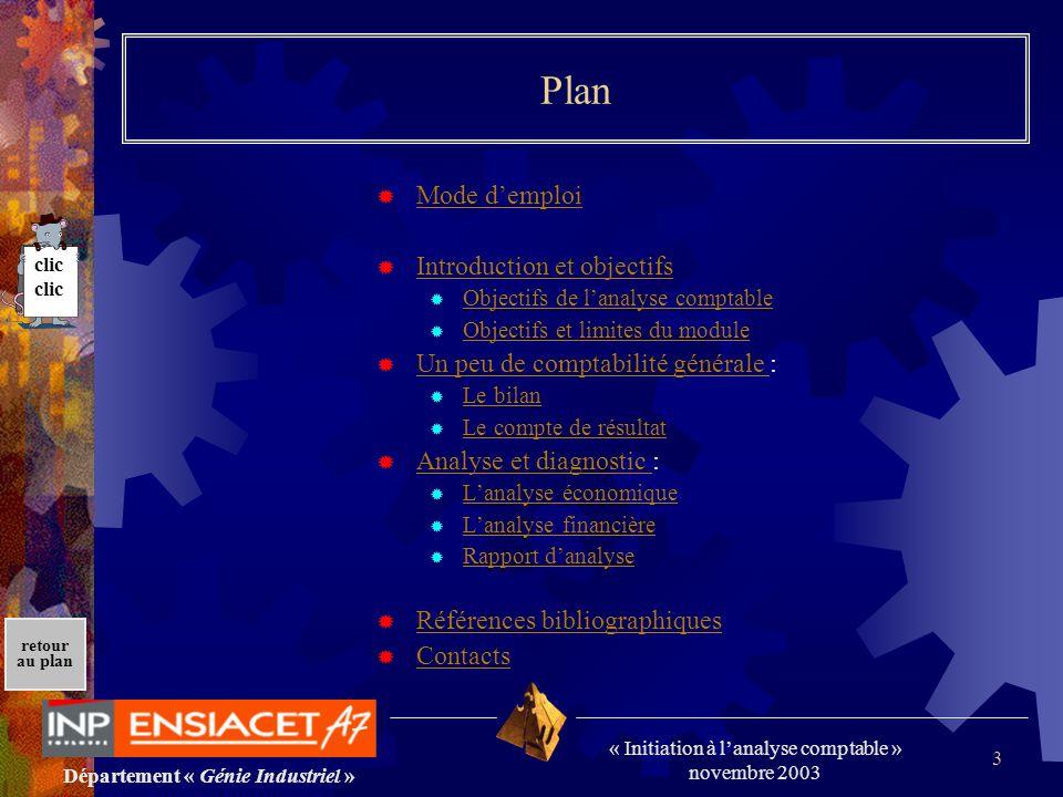 Département « Génie Industriel » « Initiation à lanalyse comptable » novembre 2003 retour au plan 3 Plan Mode demploi Introduction et objectifs Object