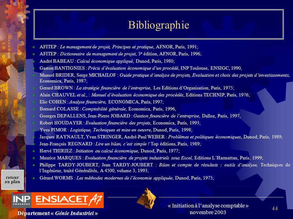 Département « Génie Industriel » « Initiation à lanalyse comptable » novembre 2003 retour au plan 44 Bibliographie AFITEP : Le management de projet, P