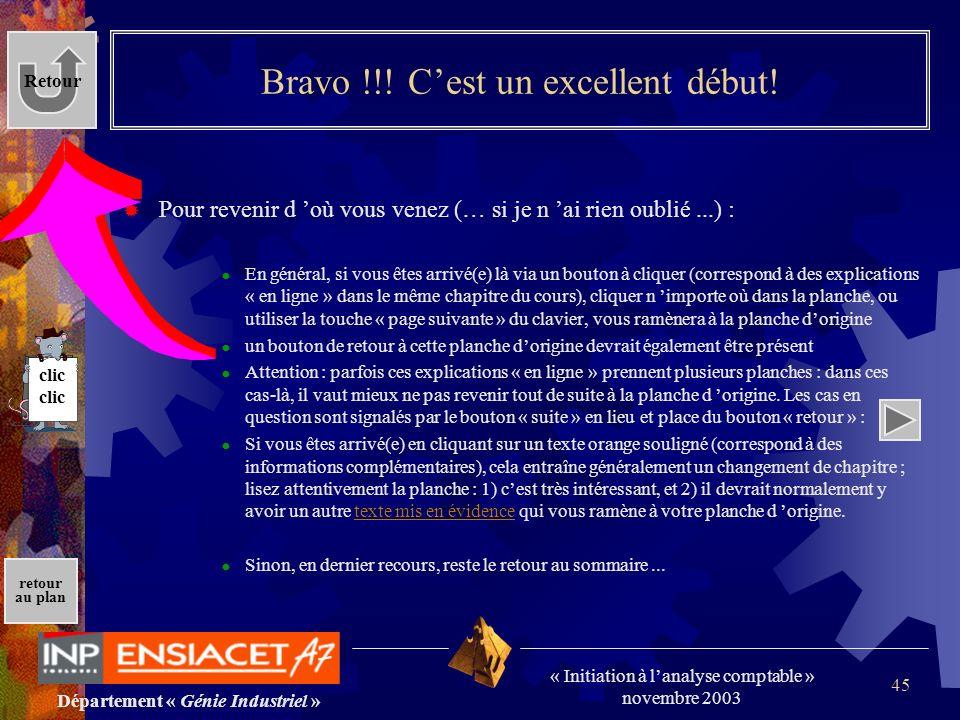 Département « Génie Industriel » « Initiation à lanalyse comptable » novembre 2003 retour au plan 45 Bravo !!! Cest un excellent début! Pour revenir d