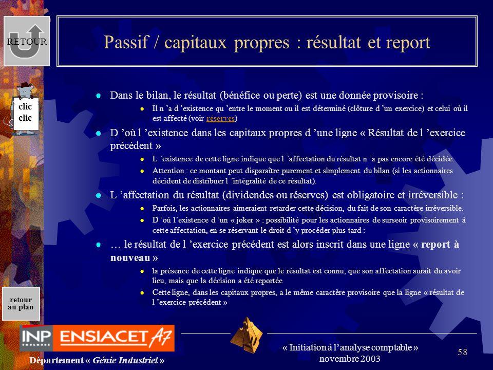 Département « Génie Industriel » « Initiation à lanalyse comptable » novembre 2003 retour au plan 58 Passif / capitaux propres : résultat et report Da