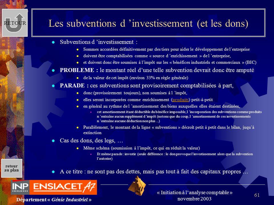 Département « Génie Industriel » « Initiation à lanalyse comptable » novembre 2003 retour au plan 61 Les subventions d investissement (et les dons) Su
