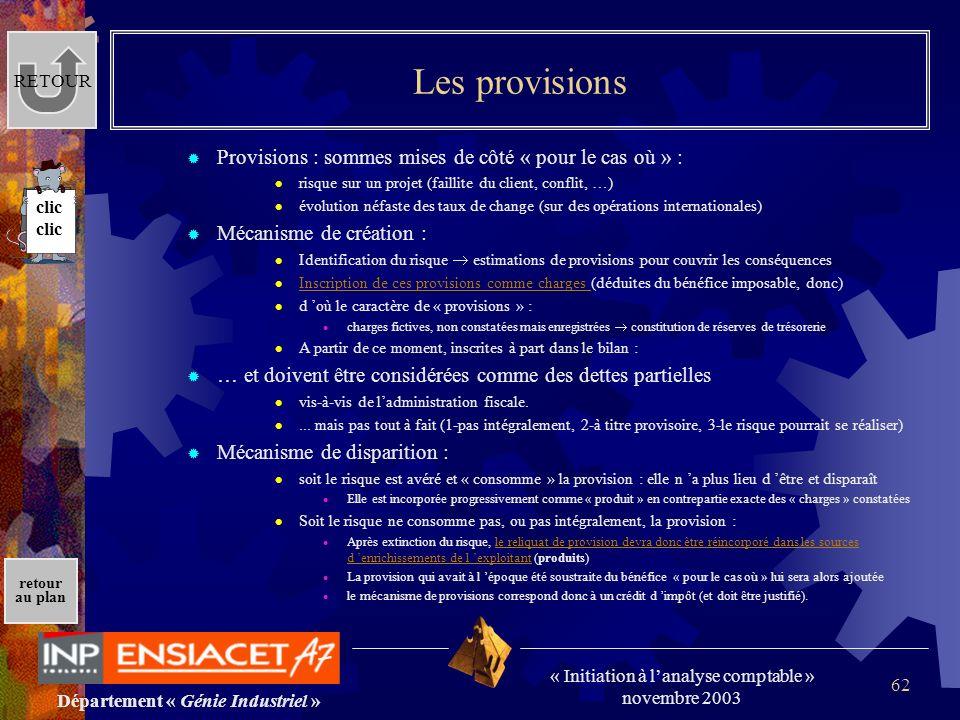 Département « Génie Industriel » « Initiation à lanalyse comptable » novembre 2003 retour au plan 62 Les provisions Provisions : sommes mises de côté