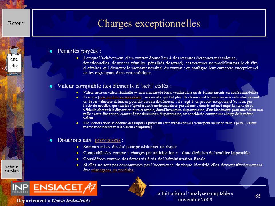 Département « Génie Industriel » « Initiation à lanalyse comptable » novembre 2003 retour au plan 65 Charges exceptionnelles Pénalités payées : Lorsqu