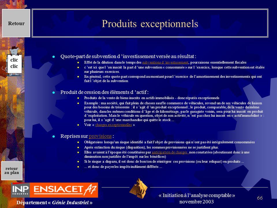 Département « Génie Industriel » « Initiation à lanalyse comptable » novembre 2003 retour au plan 66 Produits exceptionnels Quote-part de subvention d