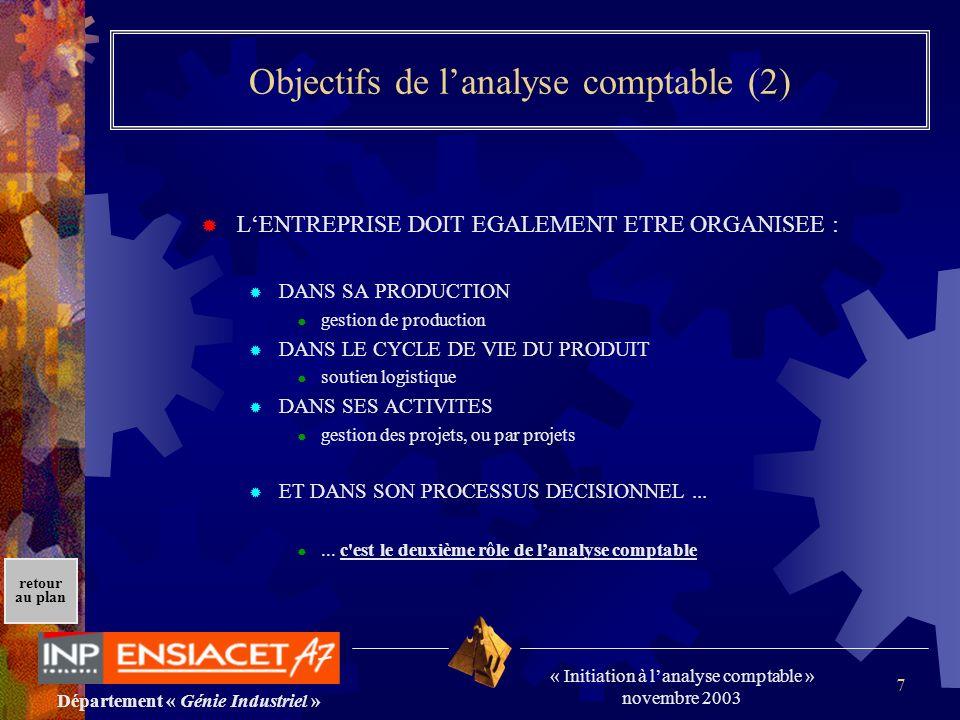 Département « Génie Industriel » « Initiation à lanalyse comptable » novembre 2003 retour au plan 7 Objectifs de lanalyse comptable (2) LENTREPRISE DO