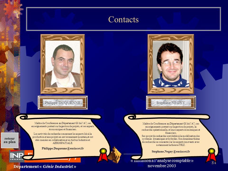 Département « Génie Industriel » « Initiation à lanalyse comptable » novembre 2003 retour au plan 84 Contacts Philippe DUQUENNEStéphane NEGNY Maître d