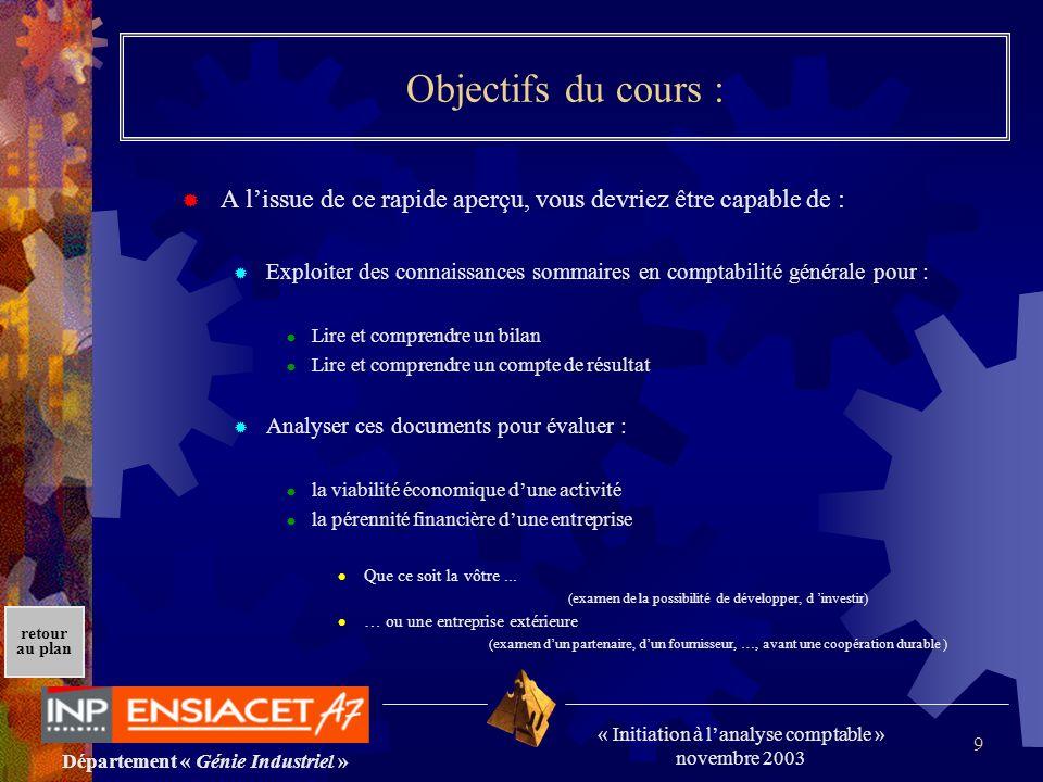 Département « Génie Industriel » « Initiation à lanalyse comptable » novembre 2003 retour au plan 9 Objectifs du cours : A lissue de ce rapide aperçu,