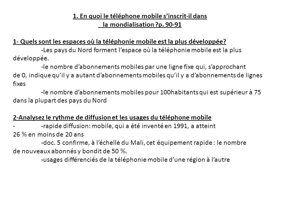 1. En quoi le téléphone mobile sinscrit-il dans la mondialisation ?p. 90-91 1- Quels sont les espaces où la téléphonie mobile est la plus développée?
