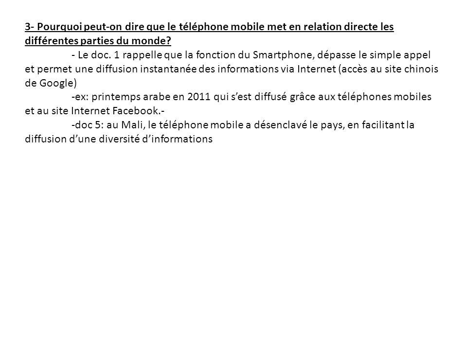 3- Pourquoi peut-on dire que le téléphone mobile met en relation directe les différentes parties du monde? - Le doc. 1 rappelle que la fonction du Sma