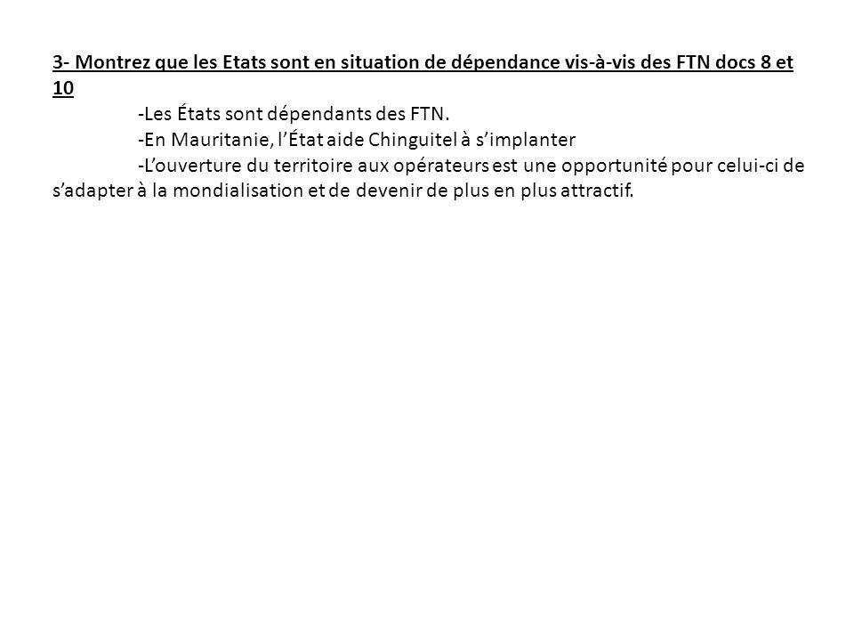 3- Montrez que les Etats sont en situation de dépendance vis-à-vis des FTN docs 8 et 10 -Les États sont dépendants des FTN. -En Mauritanie, lÉtat aide