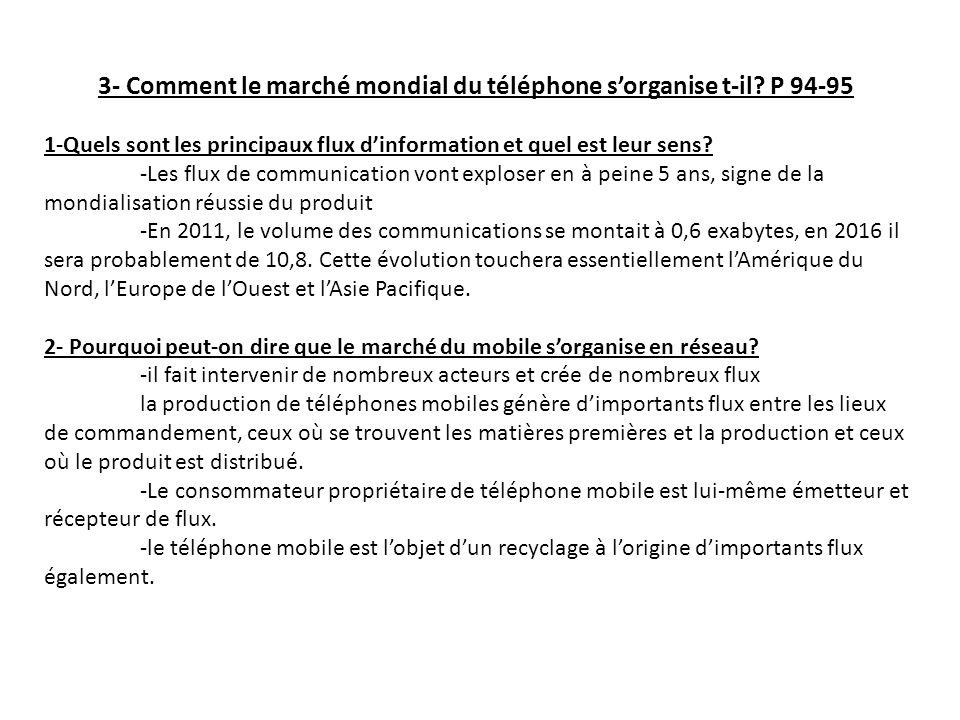 3- Comment le marché mondial du téléphone sorganise t-il? P 94-95 1-Quels sont les principaux flux dinformation et quel est leur sens? -Les flux de co