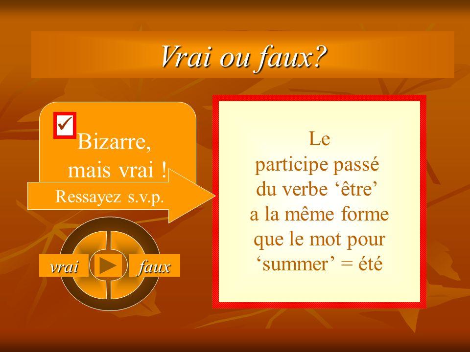 vrai faux Le participe passé du verbe être a la même forme que le mot pour summer = été Bizarre, mais vrai .