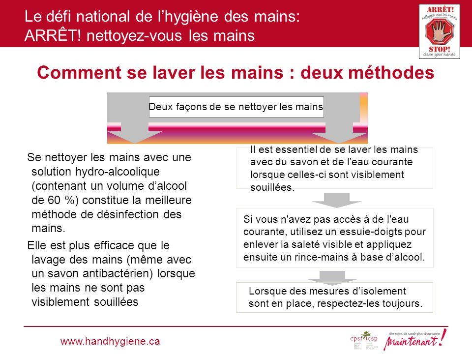 Le défi national de lhygiène des mains: ARRÊT! nettoyez-vous les mains Comment se laver les mains : deux méthodes Se nettoyer les mains avec une solut