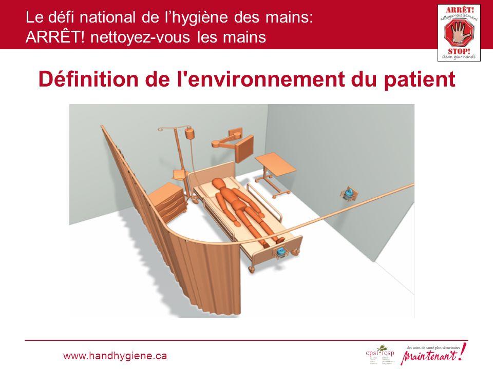 Le défi national de lhygiène des mains: ARRÊT! nettoyez-vous les mains Définition de l'environnement du patient www.handhygiene.ca