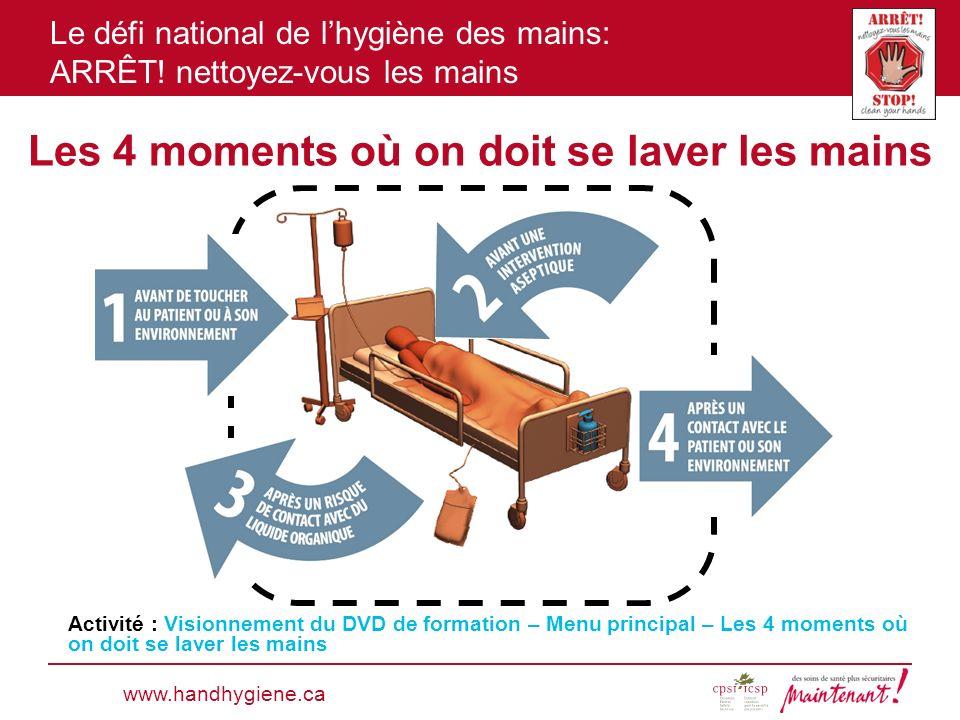 Le défi national de lhygiène des mains: ARRÊT! nettoyez-vous les mains Les 4 moments où on doit se laver les mains www.handhygiene.ca Activité : Visio