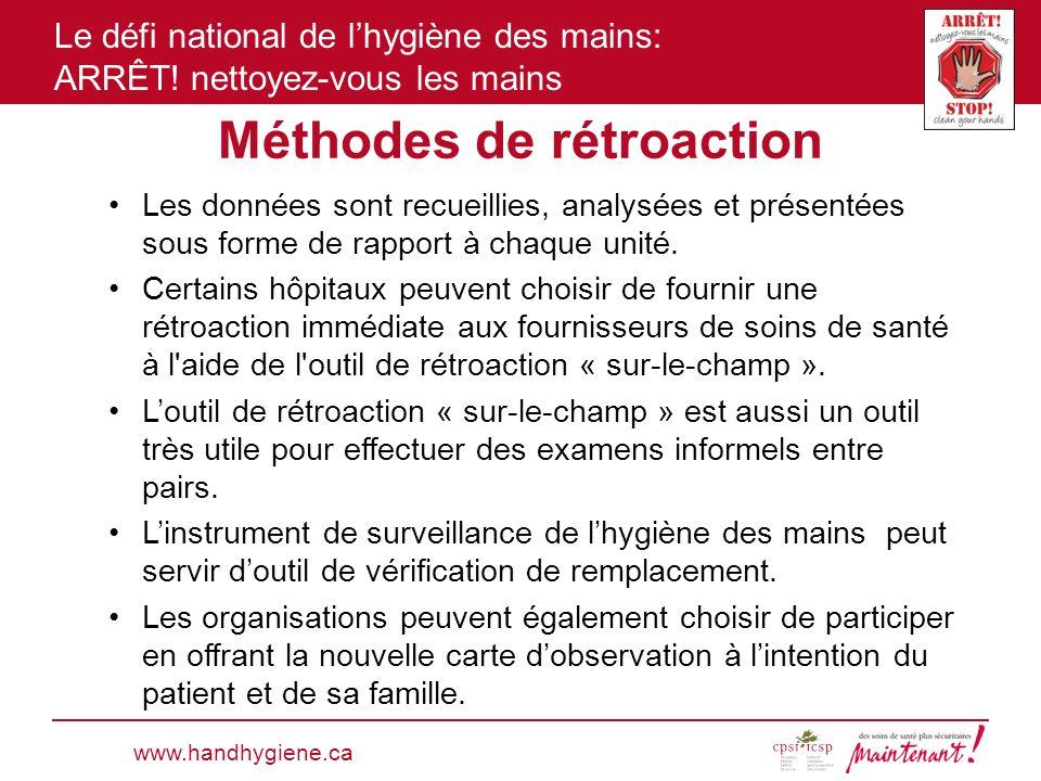 Le défi national de lhygiène des mains: ARRÊT! nettoyez-vous les mains Méthodes de rétroaction www.handhygiene.ca Les données sont recueillies, analys