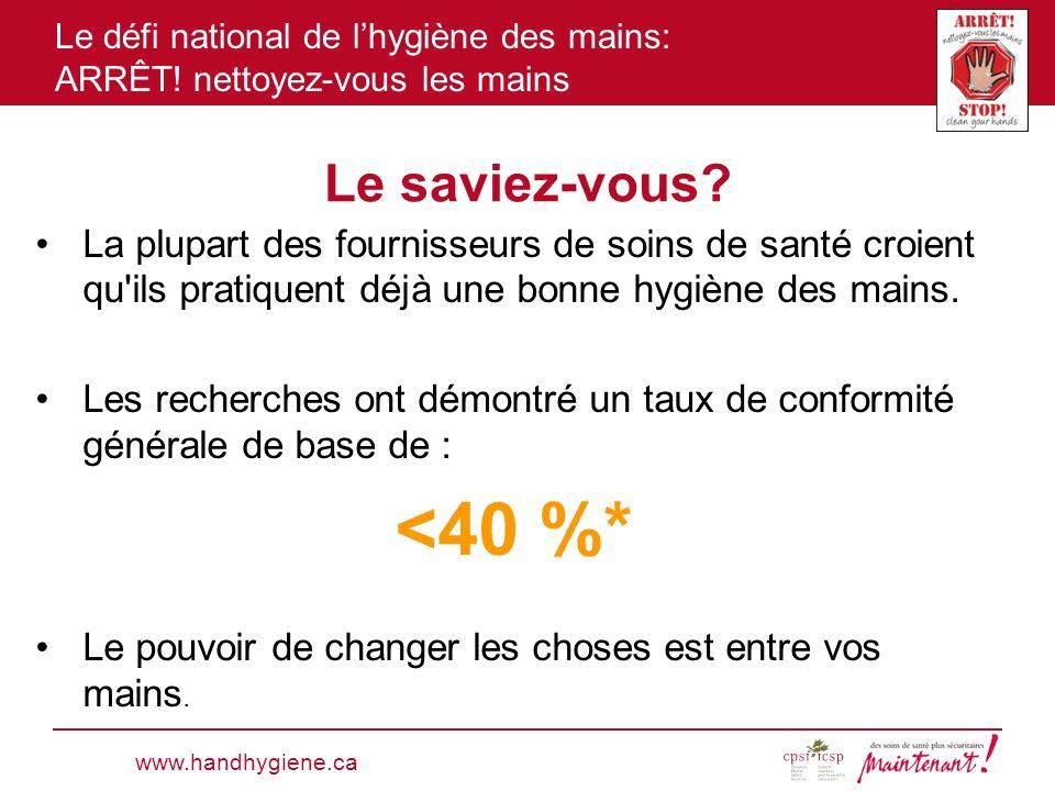 Le défi national de lhygiène des mains: ARRÊT! nettoyez-vous les mains Le saviez-vous? La plupart des fournisseurs de soins de santé croient qu'ils pr
