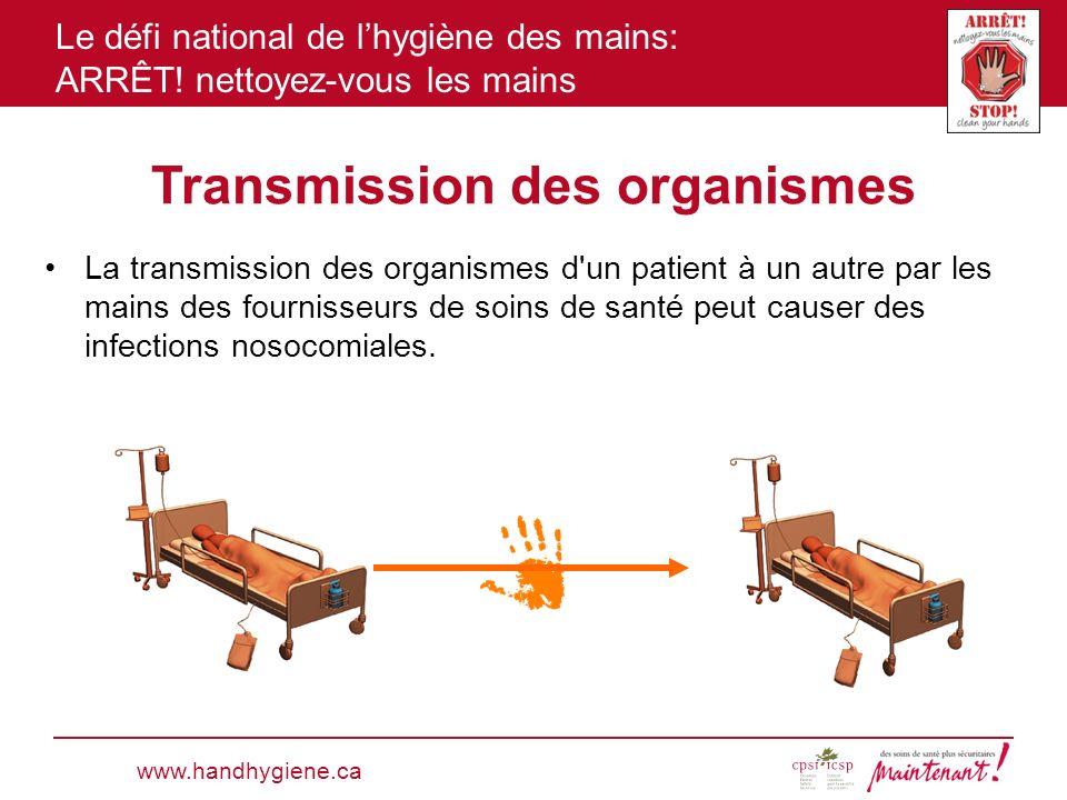 Le défi national de lhygiène des mains: ARRÊT! nettoyez-vous les mains Transmission des organismes La transmission des organismes d'un patient à un au