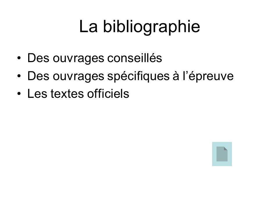 La bibliographie Des ouvrages conseillés Des ouvrages spécifiques à lépreuve Les textes officiels