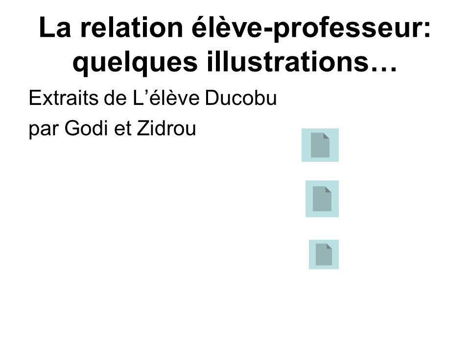 La relation élève-professeur: quelques illustrations… Extraits de Lélève Ducobu par Godi et Zidrou