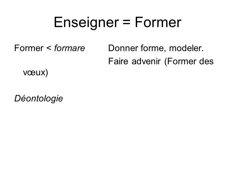Enseigner = Former Former < formareDonner forme, modeler. Faire advenir (Former des vœux) Déontologie