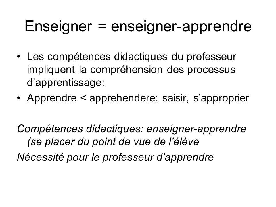 Enseigner = enseigner-apprendre Les compétences didactiques du professeur impliquent la compréhension des processus dapprentissage: Apprendre < appreh