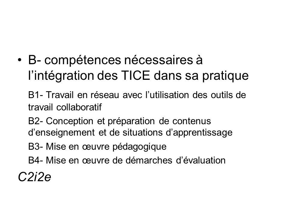 B- compétences nécessaires à lintégration des TICE dans sa pratique B1- Travail en réseau avec lutilisation des outils de travail collaboratif B2- Con