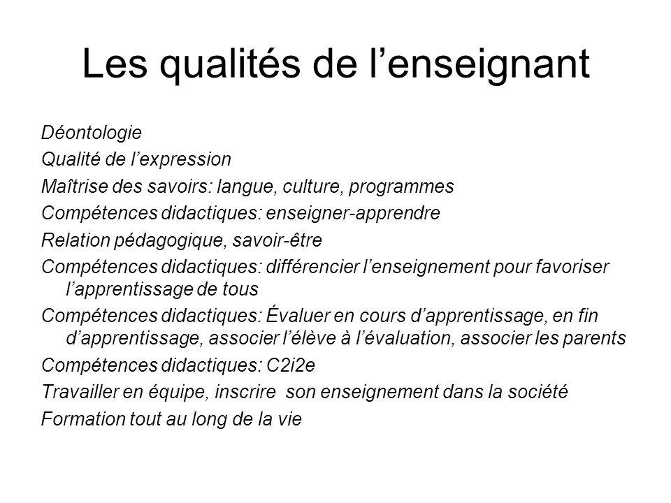 Les qualités de lenseignant Déontologie Qualité de lexpression Maîtrise des savoirs: langue, culture, programmes Compétences didactiques: enseigner-ap