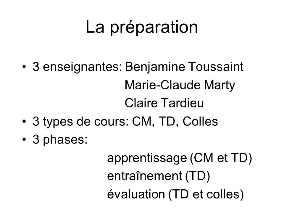 La préparation 3 enseignantes: Benjamine Toussaint Marie-Claude Marty Claire Tardieu 3 types de cours: CM, TD, Colles 3 phases: apprentissage (CM et T