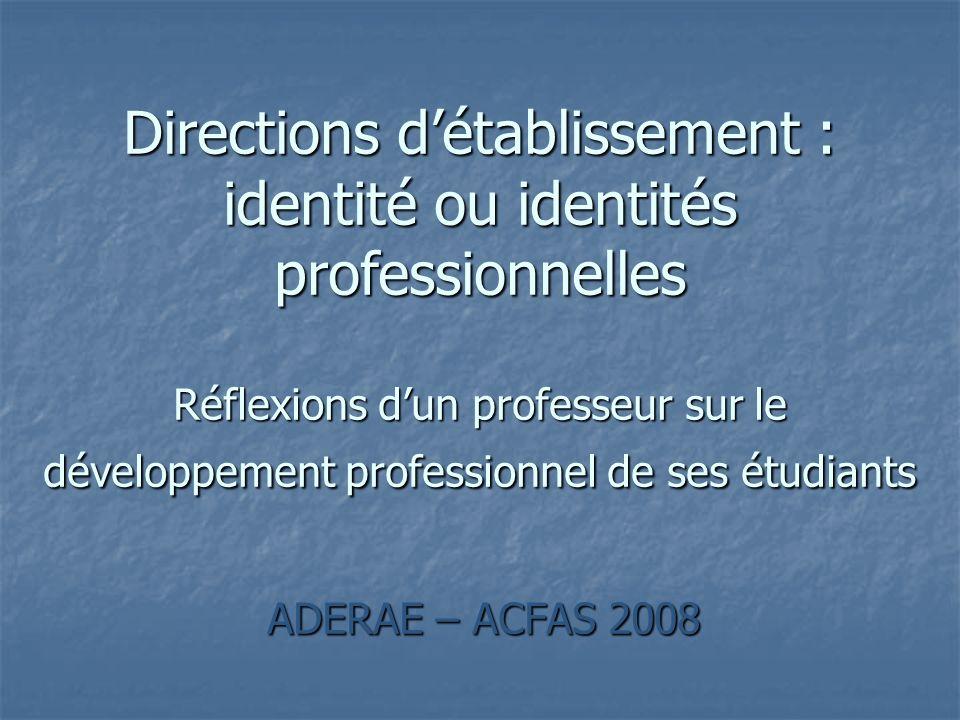 ADERAE – ACFAS 2008 Directions détablissement : identité ou identités professionnelles Réflexions dun professeur sur le développement professionnel de ses étudiants