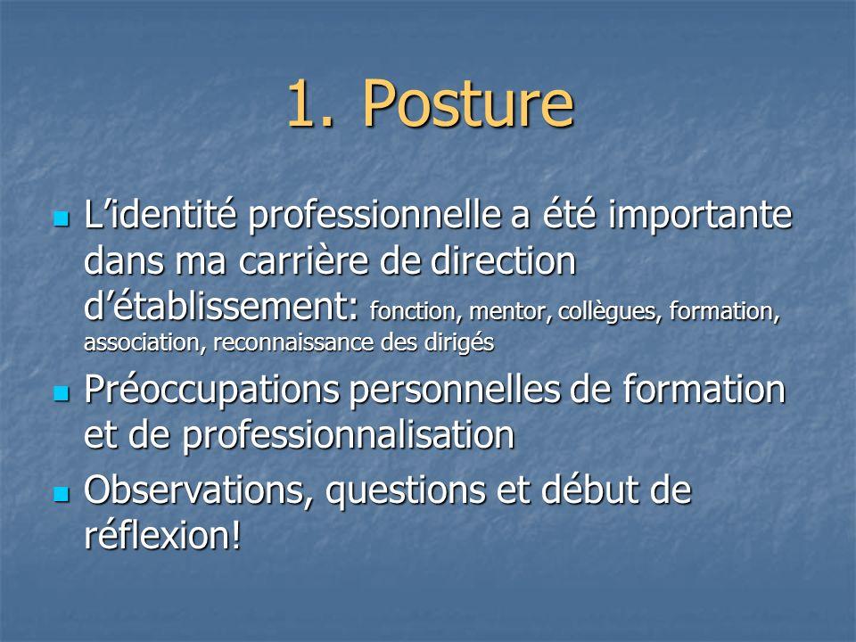 1.Posture Lidentité professionnelle a été importante dans ma carrière de direction détablissement: fonction, mentor, collègues, formation, association