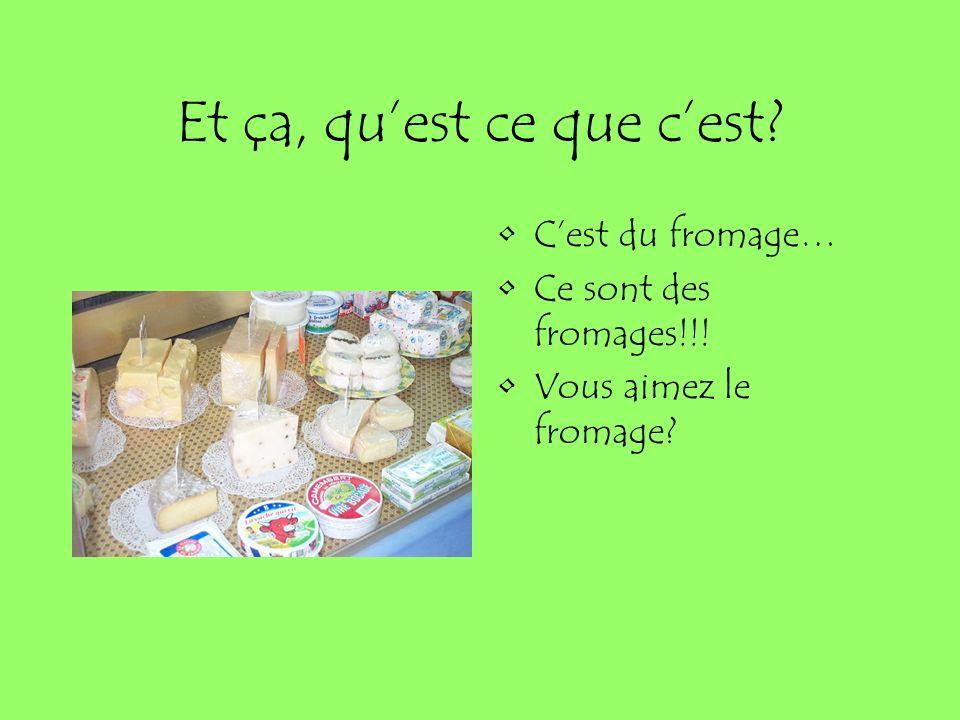 Et ça, quest ce que cest? Cest du fromage… Ce sont des fromages!!! Vous aimez le fromage?