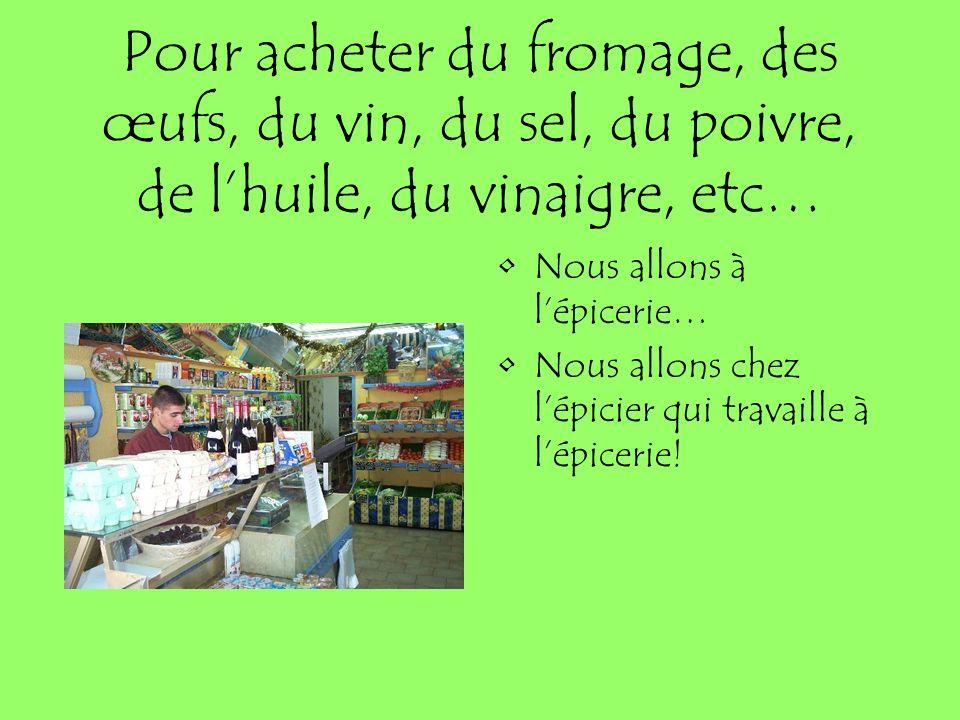 Pour acheter du fromage, des œufs, du vin, du sel, du poivre, de lhuile, du vinaigre, etc… Nous allons à lépicerie… Nous allons chez lépicier qui trav