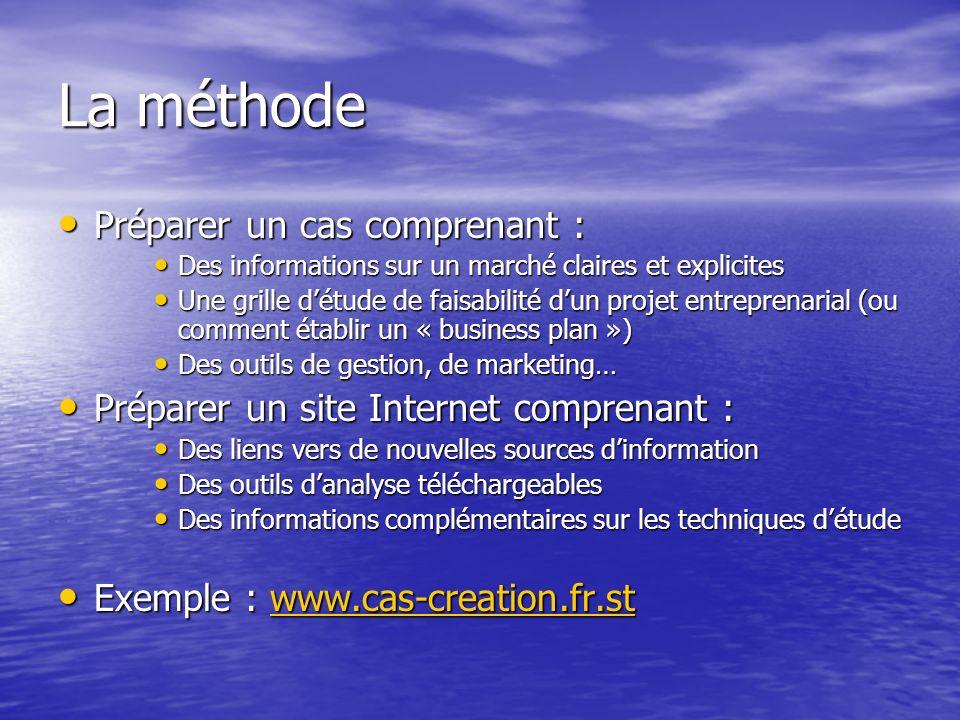 La méthode Préparer un cas comprenant : Préparer un cas comprenant : Des informations sur un marché claires et explicites Des informations sur un marc