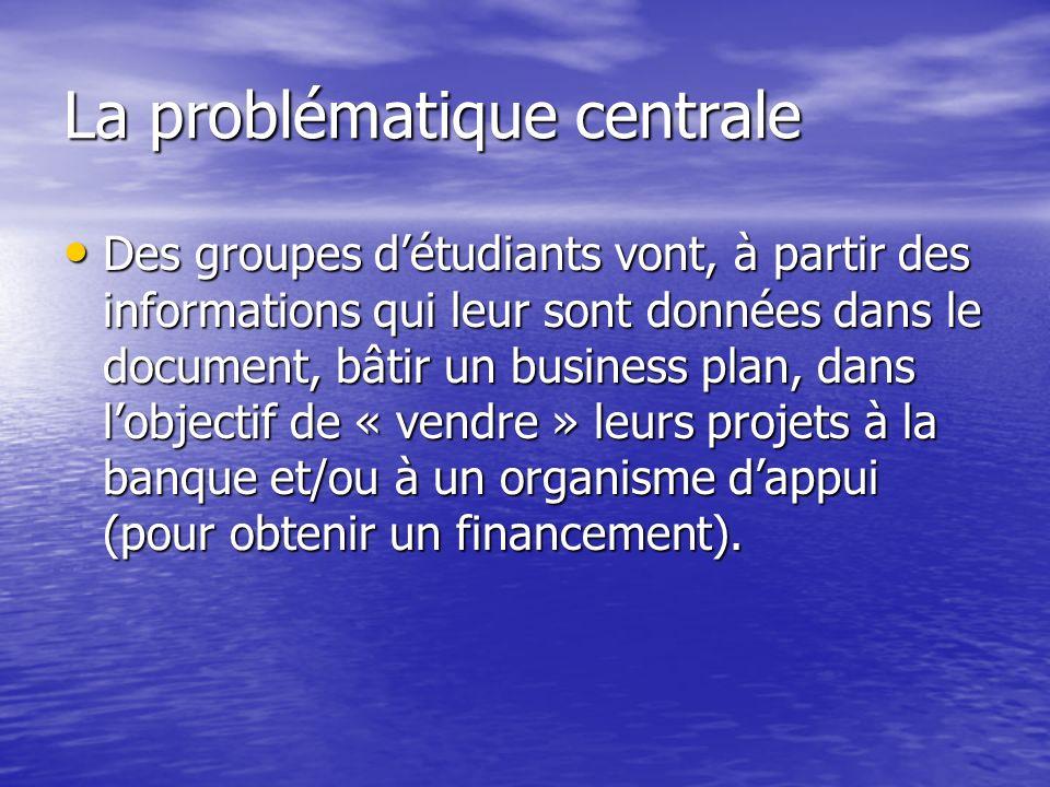 La problématique centrale Des groupes détudiants vont, à partir des informations qui leur sont données dans le document, bâtir un business plan, dans lobjectif de « vendre » leurs projets à la banque et/ou à un organisme dappui (pour obtenir un financement).