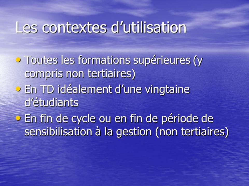 Les contextes dutilisation Toutes les formations supérieures (y compris non tertiaires) Toutes les formations supérieures (y compris non tertiaires) E