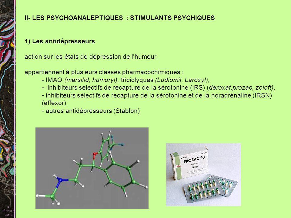II- LES PSYCHOANALEPTIQUES : STIMULANTS PSYCHIQUES 1) Les antidépresseurs action sur les états de dépression de lhumeur. appartiennent à plusieurs cla