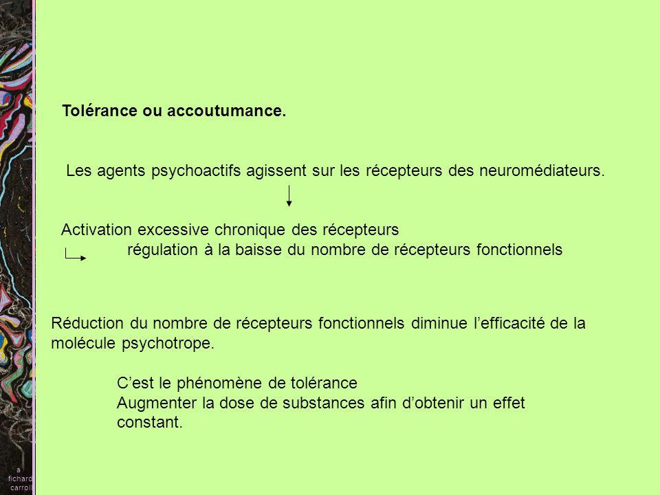 Tolérance ou accoutumance. Les agents psychoactifs agissent sur les récepteurs des neuromédiateurs. Activation excessive chronique des récepteurs régu
