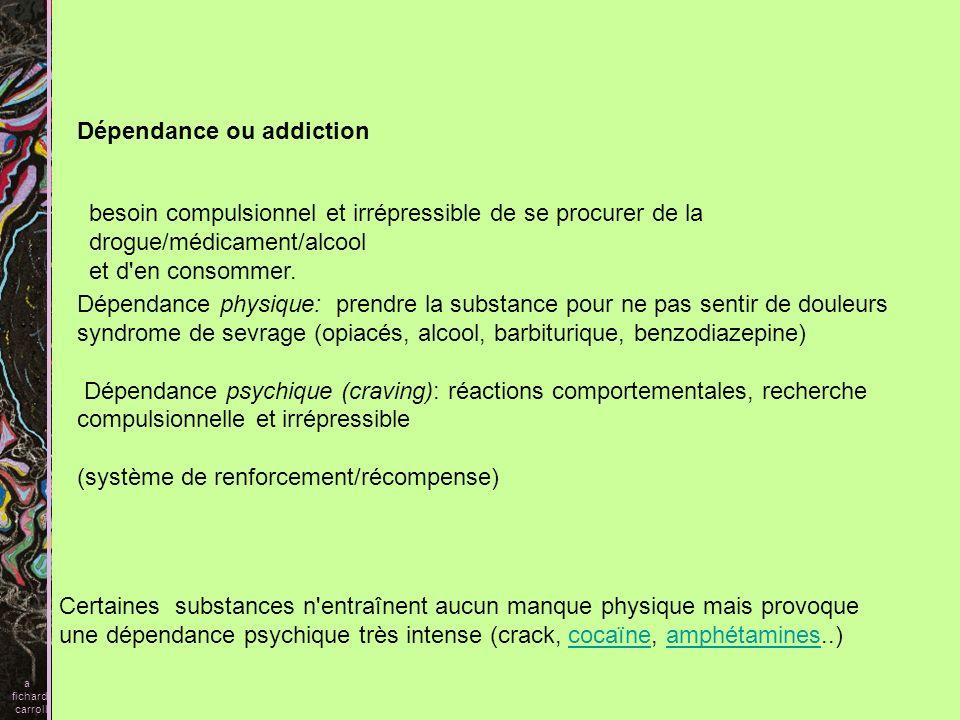 Dépendance ou addiction Dépendance physique: prendre la substance pour ne pas sentir de douleurs syndrome de sevrage (opiacés, alcool, barbiturique, b