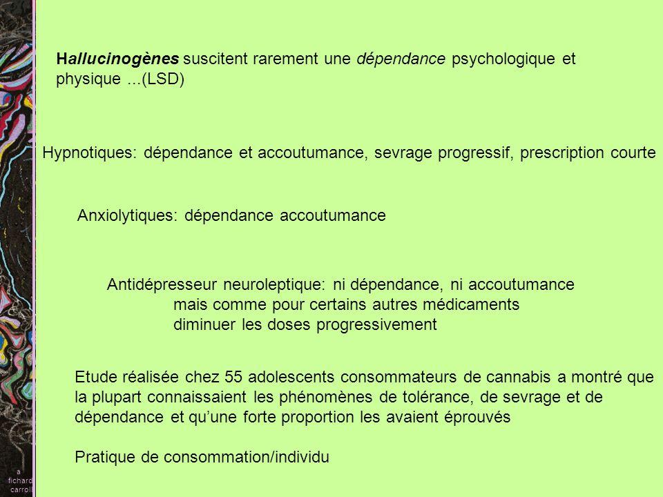 Hallucinogènes suscitent rarement une dépendance psychologique et physique...(LSD) Hypnotiques: dépendance et accoutumance, sevrage progressif, prescr