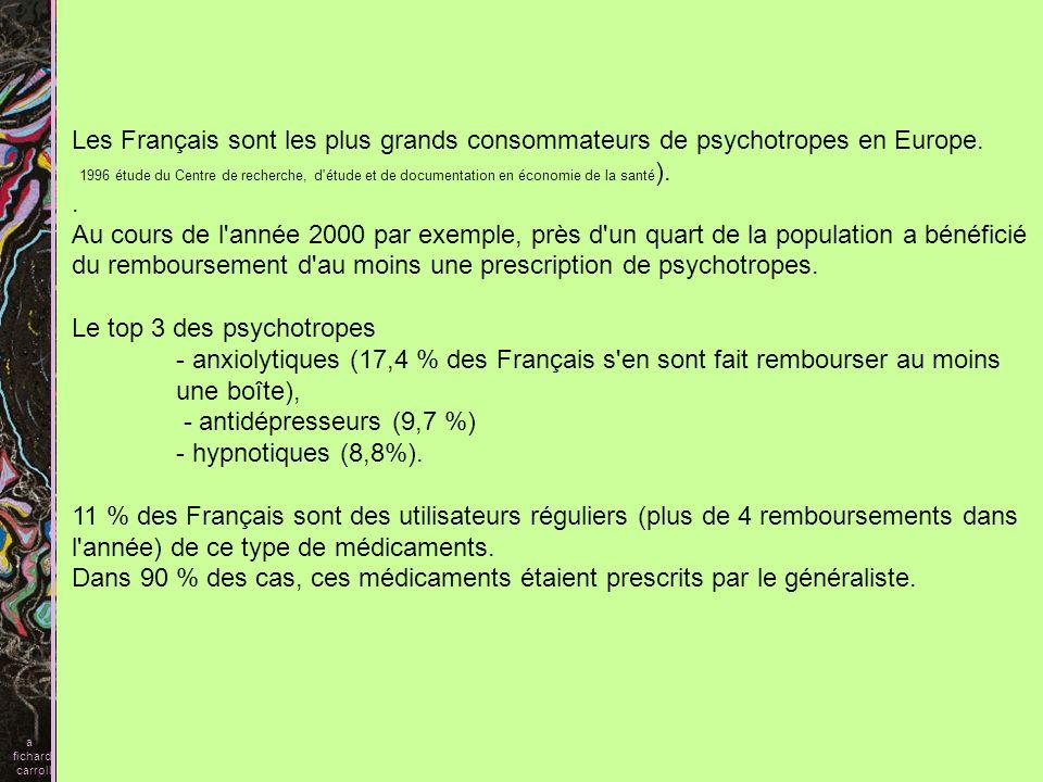 Les Français sont les plus grands consommateurs de psychotropes en Europe. 1996 étude du Centre de recherche, d'étude et de documentation en économie